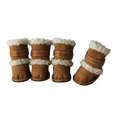 Pet Life Shearling Sherpa 'DUGGZ' Paw Boots (Set of 4) Beige S