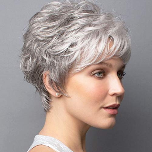 ELIM Gray Wigs for White Women Short Curly Female Wig Full Synthetic Hair Womens Wigs with Wig Cap Z140