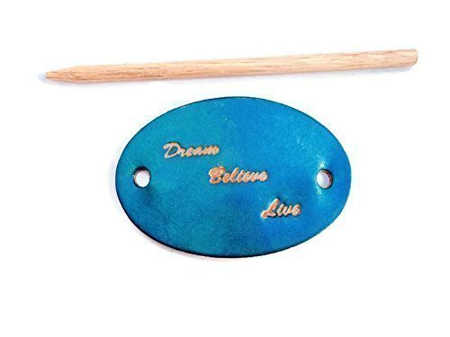 Loc Dog Halloween Costume (Dream Believe Live Blue Genuine Leather Hair Barrette with Stick)