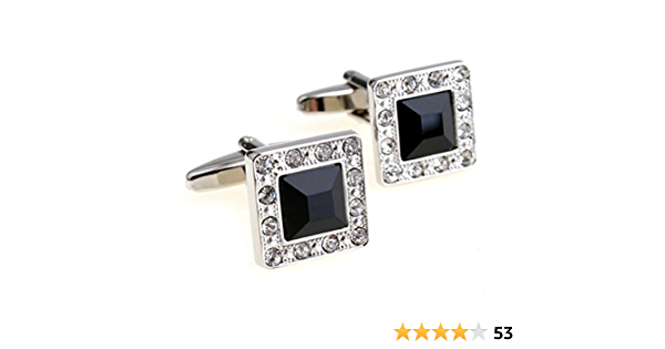 Shiny Crystal Elegant Style Women Men Fancy Stone Cufflinks with Gift Box