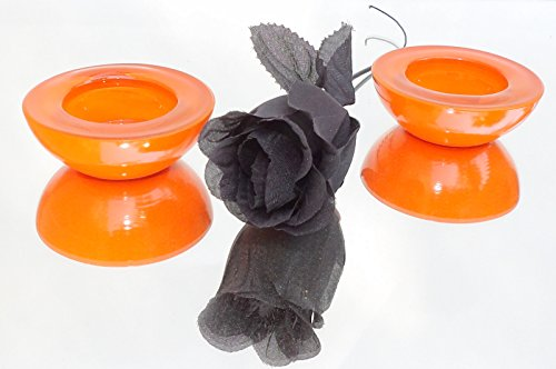 Candlesticks MCM Round Candle Holders Pair Orange