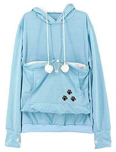 (Pet Kangaroo Pouch Fashion Hoodies Pullover Cat Dog Holder Carrier Sweatshirt Lightblue)