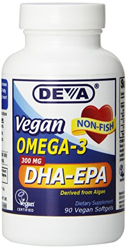Deva Nutrition Vegan DHA-EPA Nutritional Supplement Softgel, 300 mg, 90 Count