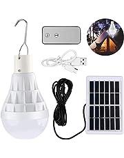 TechKen Zonne-energie Led Gloeilamp, Afstandsbediening Lamp Indoor Outdoor Tuin met Zonnepaneel, Dimbaar Oplaadbaar voor Camping Visverlichting, 1/2 Pack (Solar Bulb 1 Pack)
