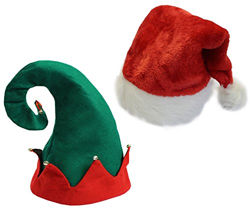 [Christmas Party Hats for Costume - Plush Santa Hat and a Felt Elf Hat] (Crazy Christmas Hats)