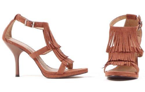 4 Tommers Sandal Damestørrelse Sko Med Frynser (brun; 6)