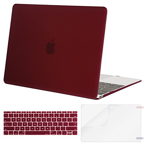 MOSISO Plastic Hard Shell Case & Keyboard Cover Skin & Screen Protector Compatible with MacBook 12 inch with Retina Display (Model A1534, Release 2017 2016 2015), Marsala Red