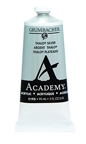Grumbacher Academy Acrylic Paint, 90ml/3 oz Metal Tube, Thalo Silver