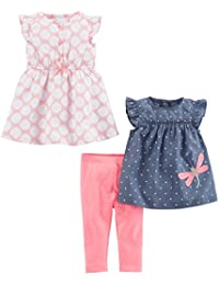 Baby Girls' 3-Piece Short-Sleeve Top, Dress, and Pants...
