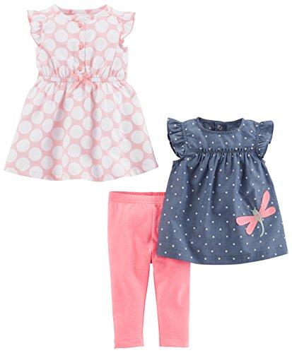 Simple Joys by Carter's Baby Girls' 3-Piece Playwear Set, Pink Dot/Chambray, 3-6 Months