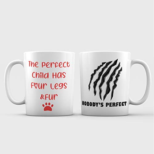 (The Perfect Child Has Four Legs and Fur Funny Ceramic Coffee Mug - 11 oz. – Awesome New Design Cat Scratch Decorative Accessory Gift Cup for Cat Lovers, Owners, Women)