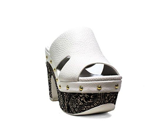LUCIANO BARACHINI6025B BLANCO NEGRO zapatos de las sandalias del talón, 2016 NUEVA COLECCIÓN PRIMAVERA VERANO 6025