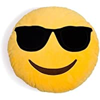 PRACHI TOYS Smiley Thick Plush Pillow Round Cushion Pillow Stuffed /Gift for Kids/for Birthday Gift -30CM , Yellow (Cool Dude Smiley)