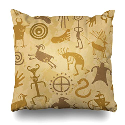 Alfredon Throw Pillow Covers Cave Brown Kokopelli Painting Tan Southwestern Pattern Snake Swirl Western Hieroglyphs Indian Ancient Pillowcase Square Size 20 x 20 Inches Home Decor Cushion Cases