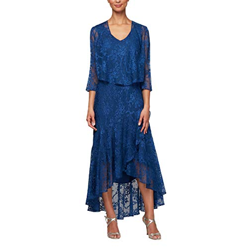 Alex Evenings Women's Tea Length Printed Chiffon Dress with Shawl, Royal, - Tea Length Cocktail