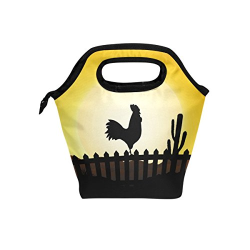 Florence Rooster Silhouette With Sunrise Cooler Warm Pouch Lunch Bags Lunchbox For School Work Portable Meal Handbags Food Container Tote For Picnic