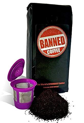 Banned Coffee World's Strongest Coffee - Super Strong Caffeine Content - Our Best Flavor Medium Dark Roast (Keurig, 1 lb + 1 Reusable - Energy Gift Basket