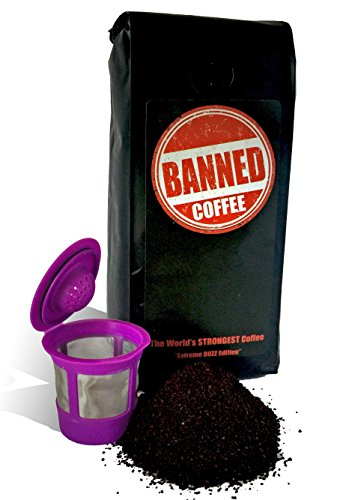 Banned Coffee World's Strongest Coffee - Super Strong Caffeine Content - Our Best Flavor Medium Dark Roast (Keurig, 1 lb + 1 Reusable K-cup)