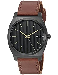 Nixon Mens Time Teller Quartz Stainless Steel and Leather Casual Watch, Color Gold-Toned (Model: A0452664)