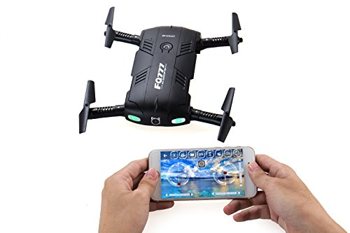 Quadcopter and HD camera, video air-Wifi mobile phone controlled Drone, highly holding 3D overturn, and rotating foldable black Drone four-wheeled by YA BEI SHANGMAO