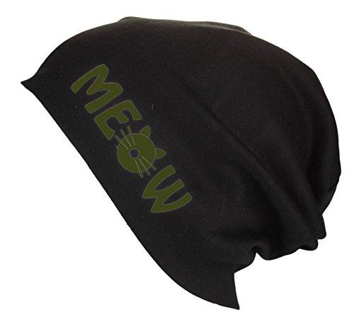 testa de Hombre gato Mujer Gorro verano Green Jersey con Gorro Meow colores Beanie Military varios de largo letras en 7HOv8qYrOw