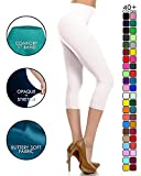NCPR128-White Capri Solid Leggings, One Size