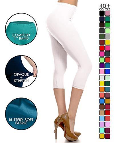 NCPRX128-White Capri Solid Leggings, Plus Size