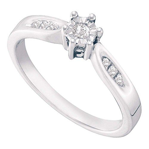 (Size 6-925 Sterling Silver Round Diamond Engagement Ring - Prong Set Solitaire Center Setting Shape with Channel Set Side Stones (.06 cttw.))