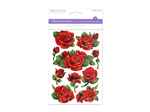 Multicraft Imports Glitter Foil Red Roses Stickers Sheet, 5