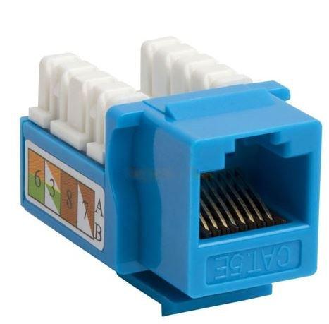 50 pack lot Keystone Jack Cat5e Network Ethernet 110 Punchdown RJ45 8P8C (Blue) -