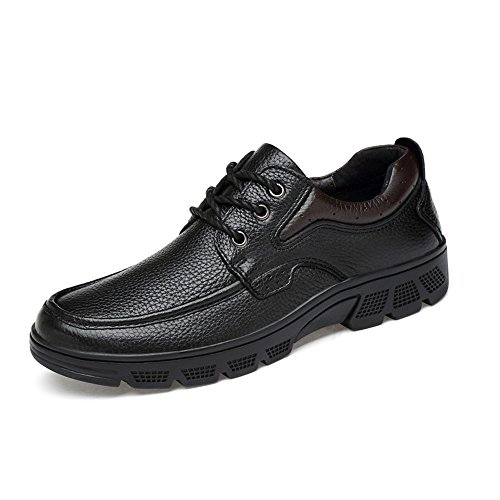 Hilotu Classic Shoes for Men's Fashion Oxford Casual Soft Aseismatic Light Belt Outsole Formal Shoes(Warm Velvet Optional) (Color : Black, Size : 11.5 D(M) US)