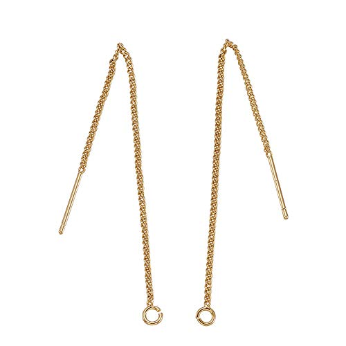 Kissitty 10pcs Real Gold Plated Dangle Earrings Threads 85mm Golden Long Chain Earring Tassel for Women DIY Jewelry Making