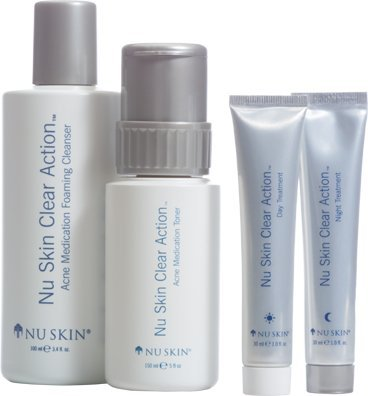 (Nu Skin Clear Action Acne Medication System + Free Exfoliant Scrub Extra Gentle)