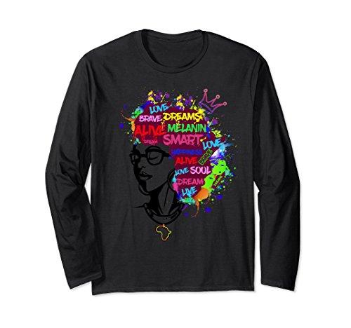 Unisex Natural Afro Hair Queen Shirt - Africa Pride Longsleeve Tee 2XL (Pride Long Sleeve Tee)