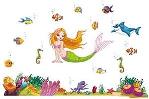ملصقات حائط قابلة للازالة مطبوع عليها رسومات لحورية البحر تحت الماء بالوان زاهية لغرف الاطفال وروضة الاطفال