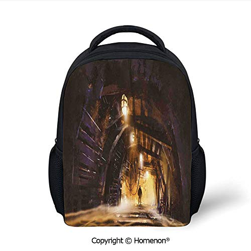 3D Underground Tunnel of The Mine Shaft Smokey Dark Rocky Abandoned Printing Fashion Grade School Backpacks,(12.2