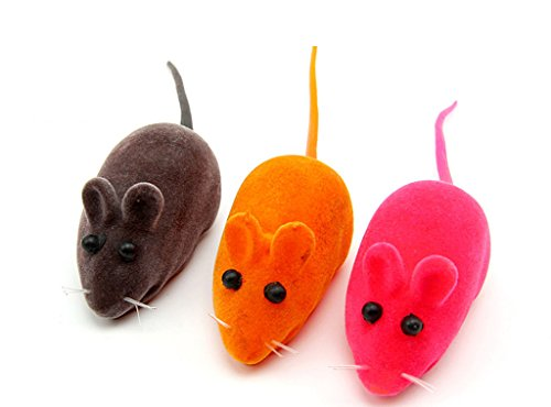 BECKY,5 Set of Rainbow Mice Cat Toys with Real Rabbit Fur...