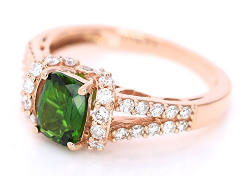 LeVian Chrome Diopside White Diamonds Cocktail 1.25 cttw Ring 14k Rose Gold size 7