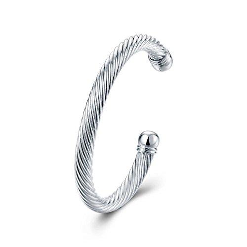 Reizteko Elastic Adjustable Stainless Steel Twisted Cable Cuff Bangle Bracelet for Men Women (Silver)