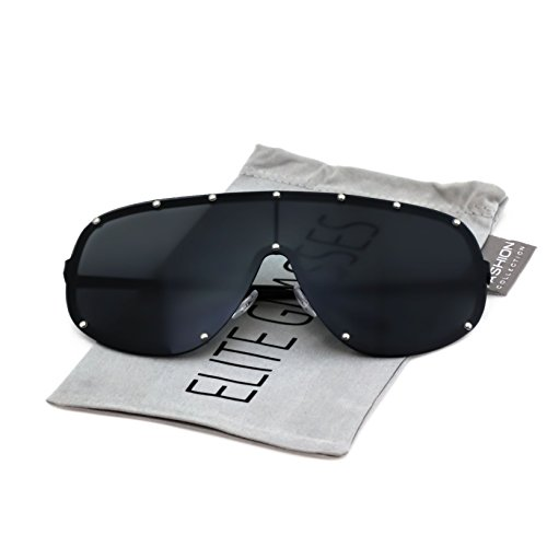 Oversize XXL Huge Large Shield Wrap Big Mask Polarized Sunglasses (Black, - Shield For Sunglasses Men