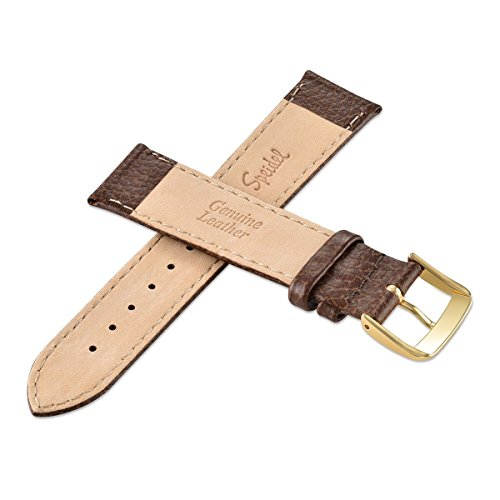 Speidel Genuine Leather Watch Band 16mm Long Brown Cowhide Stitched Replacement Strap with Tone on Tone Stitching, Stainless Steel Metal Buckle Clasp, Watchband Fits Most Watch Brands by Speidel (Image #3)