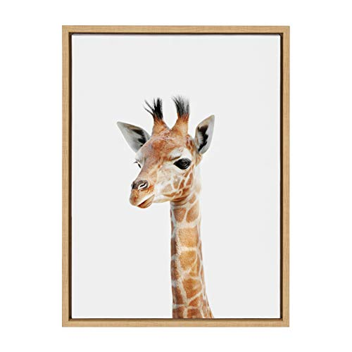 Kate and Laurel Sylvie Baby Giraffe Animal Print Portrait Framed Canvas Wall Art by Amy Peterson, 18x24 Natural
