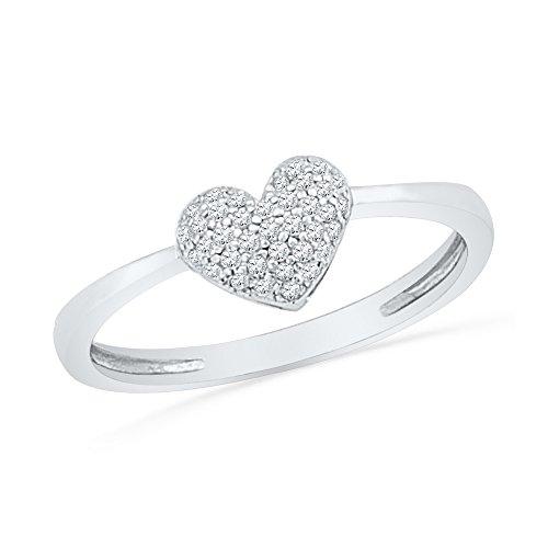 10KT White Gold Round Diamond Heart Cluster Ring 0.09 Cttw