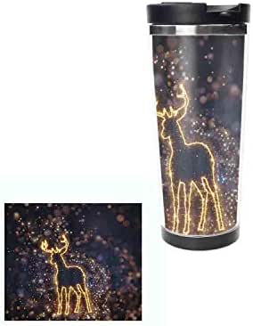 Christmas Sparkly Deer Stainless Steel Water Bottle Leak-Proof Vacuum Insulated Double Wall Thermos Mug for Hot and Cold Drinks 14oz,400ML