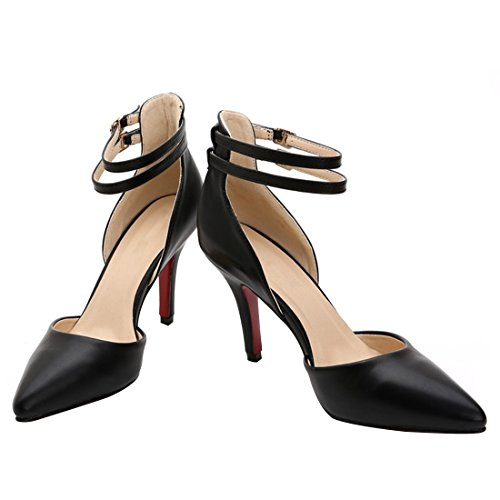 Femmes D'orsay Boucle Sandale Noir Hooh Cheville Cuir p6wRqqx7O