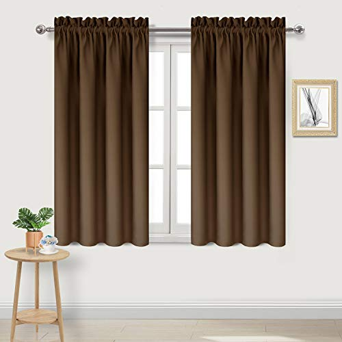 - DWCN Blackout Room Darkening Thermal Insulated Living Room Curtains Short Curtain Panels, Brown Kitchen Curtains, 38 x 45 inch Long, Set of 2, Drapes