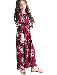 Girls Maxi Dress, Floral Flared Sewing Pocket Three-Quarter Sleeves Long Dress Size 5-12