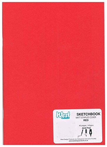 RS261650 A5 Sketchbook MATT RED 140g (140gsm Matt)