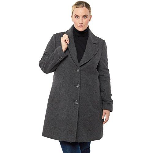 alpine swiss Women's Plus Size Wool Overcoat Classic Notch Lapel Walking Coat Gry 1XL - Button Front 3/4 Length Coat