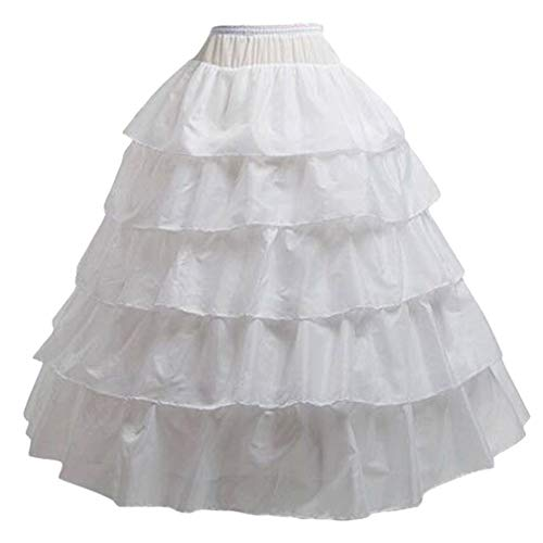 BiBOSS Hoop Skirt for Women Ball Gown Petticoat Skirt Crinoline Underskirt for Wedding Dress, 4 Hoops -